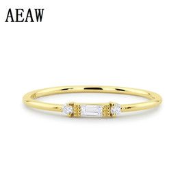 кольцо из желтого золота 14к Скидка Минималистское бриллиантовое обручальное кольцо с набором из трех камней Круглый багет Cut 14k Solid Yellow / White / Rose Gold Y19052301