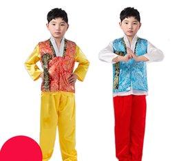 Trajes nacionais tradicionais on-line-Crianças de verão traje nacional coreano masculino tradicional coreano Hanbok 3 PCS crianças Asian National Traditional Clothing