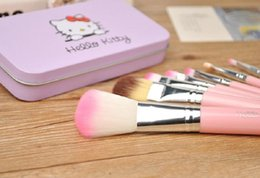 pinceles de maquillaje de metal negro Rebajas Nuevo Hello Kitty 7 pzs. Mini kit de maquillaje de maquillaje kit de cosméticos de pinceis de maquiagem kit de maquillaje con caja de metal rosa negro