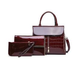 bolsa vermelha em couro de patente Desconto Vermelho / preto / azul Crocodilo Bolsas Mulheres bolsas e Purse Set 3Pcs patente brilhante bolsas de couro Bags + Cadeia Shoulder Crossbody Saco Sac