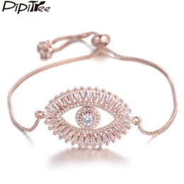 Pulseiras de cobre mulheres on-line-Pipitree Luxo Grande Evil Eye Charm Bracelet por Mulheres brilhante princesa Corte Cubic Zircon CZ Pulseiras Bangles Cobre Jóias