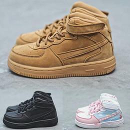 Skate de bebê on-line-New Born Baby Mid um 1 sapatos trigo crianças Triplo Preto Crianças criança Casual formadores da menina do menino tênis Skate td infantil