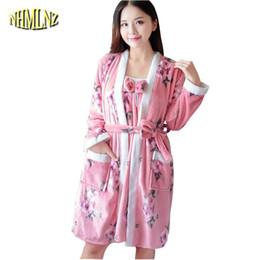Women Nightdress New Winter Coral Fleece Medium Long Robe Two-piece Cartoon  Cute Flannel Padded Female Pajama Home Service LY499 afef1468f
