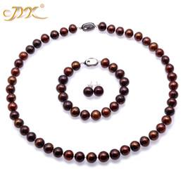 7e6dbf5bf0ab Conjunto de collar de perlas de joyería JYX 2018 9-10 mm Plana redonda  Marrón Collar de perlas cultivadas de agua dulce Pulsera y aretes Conjunto