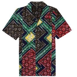afrikanische wachsdruckstile Rabatt Afrikanischen Stil Casual Shirts Muster der Männer Baumwolle Kurzarm Bluse traditionelle klassische Wachsdruck quadratische Fliese gedruckt