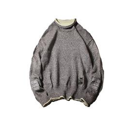 Desgaste del cuello de los hombres s alto online-2019 nuevo semi-alto cuello de los hombres suéter del o-cuello de moda de los hombres bordados calientes desgaste para hombre suéteres de cuello alto