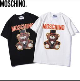 Ursinhos de peluche on-line-Verão nova moda ursinho dos desenhos animados impresso teddy bear gola redonda de algodão de manga curta T-shirt casual preto e branco s-xxl