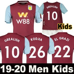 Maillot de villas en Ligne-19 20 maillot de foot Aston Villa 2019 2020 soccer jersey à domicile WESLEY GREALISH KODJA EL GHAZI CHESTER McGinn TARGETT Hommes Enfants set maillots de football