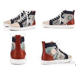 Acabado de zapatos online-Zapatillas de deporte rojas de la manera inferiores hombres, las mujeres de lujo zapatos casuales de alta superior del girasol recortado grosgrain acabado de tuberías, cuero impresa de patente