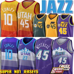 Camisa 45 on-line-Utah Donovan 45 Mitchell jazzes Jersey Mike Conley 10 Jr Jersey Retro malha Rudy 27 Gobert Jerseys 12 Stockton Jerseys Karl Malone 32