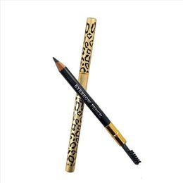 pomada de chocolate caliente Rebajas Nuevo Hot Leopard Eyeliner Pen de doble cabeza Eyeliner Pen a prueba de agua Negro Marrón Gris Lápiz Con Pincel Maquillaje Eyeliner 5 colores