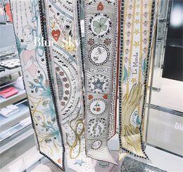 Saco de dois andares on-line-Tarot Série Double-deck Impressão Dupla-face Sarja Pequeno Bind Bag Handle Imitar Lenço De Seda Fita Faixa de Cabelo Mulheres Lenços Hijab