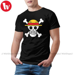 Logotipo luffy uma peça on-line-Luffy Camiseta One Piece T-shirt do logotipo Oversized manga curta camiseta Homem engraçado camisetas Casual