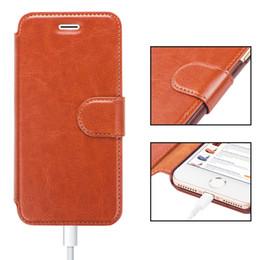Iphone leder flip case braun online-Designer-For iPhone 6 8 7 Plus-Leder-Mappen-Kasten mit Kartenschlitz magnetischen Metall Slim Fit Heavy Duty PU-Schlag-Fall Brown