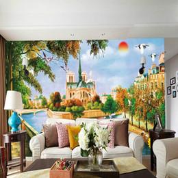 Pintura a óleo paisagem castelo on-line-Castelo europeu pintura a óleo grande mural papel de parede TV fundo sala de estar sofá quarto nascer do sol paisagem mural papel de parede