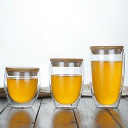Toptan Çift Duvar Cam Bardak Kullanımlık Cam Kahve Kupalar Cam Kupa Çay Drinking350ML Için Bambu Kapaklı nereden toptan bambu bardaklar tedarikçiler