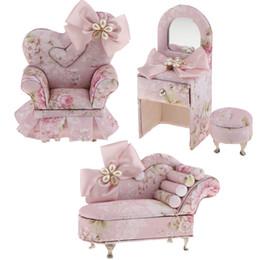 Jóias de móveis on-line-Rosa da borboleta Tecido Mini Móveis Jewelry Box Decor Armazenamento