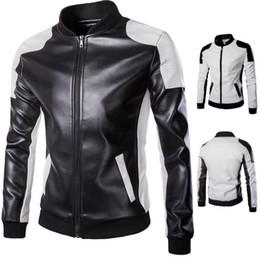 Jaqueta da motocicleta da mosca on-line-Mens Designer Jaquetas De Couro Plus Size Com Painéis Gola Zipper Fly Outwear Moda Mens Jaqueta Da Motocicleta