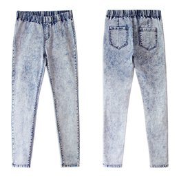 Brand New Womens Designer Jeans Fashion Wash Élastique Bande Slim Pieds Pantalon en Jean Taille Haute Crayon Pantalon ? partir de fabricateur