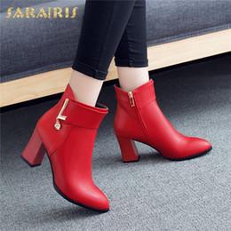 talons chunky rouges noirs Promotion Sarairis Brand New Design 2019 Noir Rouge Cheville Bottes Femmes Chaussures Femme Talons Chunky Zip Up Automne Chaussures Femme Bottes