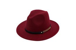 Vin Rouge Mode Femme Laine Chapeau Noir Couleur Unie Fedora Chapeau Mesdames Chapeaux En Feutre Ceinture En Cuir Hiver Femmes Jazz Chapeau ? partir de fabricateur