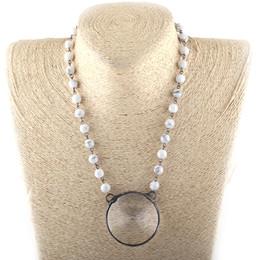 2019 rosario di cristallo bianco Gioielli di moda Bohemian White / Black Stone Rosary Big Crystal Pendant Necklaces rosario di cristallo bianco economici