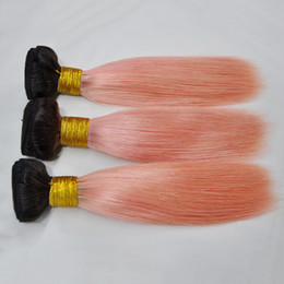 Ouro 22 extensões de cabelo on-line-Epacket 100% 1B Rosa humano Cabelo 3 Pacotes Remy Hair Extensions Rose Gold Ombre Cabelo Humano Pacotes brasileiros