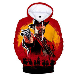Cappuccio rosso 4xl online-RED DEAD REDEMPTION 2 3D Hoodies Uomo Donna Pullover Felpe Cool Shawshank Redemption Stampa Tute con cappuccio Tops uomo