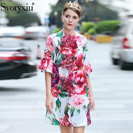 2019 apliques de peônia Svoryxiu Runway personalizado Autumn Long Coat solto Tops da Mulher Charming Peony Flower Impresso apliques Jacquard Overcoat Outwear