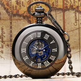 Sehe alte mode online-Retro hohl mechanische taschenuhr handaufzug fob uhr römische ziffern anzeigen schwarze tasche kette old fashion watch geschenk