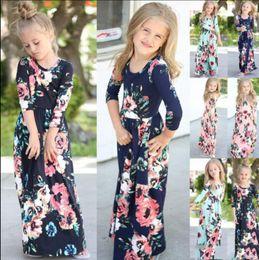 Çocuklar Bebek Kız Moda Boho Uzun Maxi Elbise Giyim Uzun Kollu Çiçek Elbise Bebek Bohemian Yaz Çiçek Prenses elbise cheap bohemian baby girl clothes nereden bebek bebek kostümleri tedarikçiler