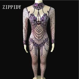 653e07a5957 Purple Bling Big Rhinestones Jumpsuit Women s Birthday Stage Dance Bodysuit  Wear Nightclub Female Singer Show Spandex Rompers