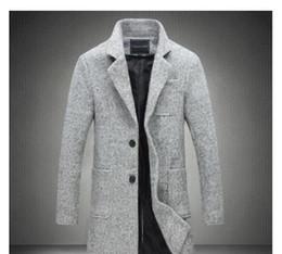 2020 mens langer grauer wollmantel Wholesale- 2017 New lange Graben-Mantel-Männer Marken-Kleidung Winter-Mode-Männer Overcoat 40% Wolle dicker grauer Trenchcoat Mal Jacke plus M-5XL rabatt mens langer grauer wollmantel