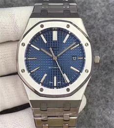2019 Vendita calda 42mm Orologio da uomo di lusso Movimento automatico Quadrante blu Orologio da uomo serie ROYAL OAK orologi da uomo in acciaio inossidabile 15400 da