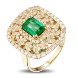 Deutschland Exquisite 18 Karat Gelbgold Princess Cut Smaragd Diamant Ring Geburtstag Jubiläumsgeschenk Frauen Hochzeit Verlobungsring Größe 5-12 supplier 18k yellow gold emerald ring Versorgung