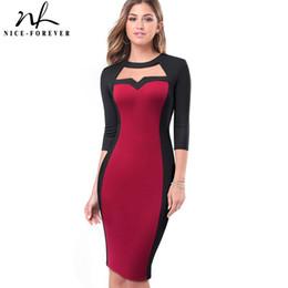 bom vestido para fora Desconto Nice-para sempre cor do contraste do vintage trabalho patchwork oco out o pescoço business party bodycon escritório mulheres dress b482