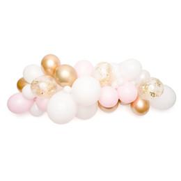 Balões de casamento rosa branco on-line-40 pcs balão guirlanda de bebê rosa de látex branco ballons cromo ouro confetti balão para o casamento de aniversário do chuveiro de bebê fontes do partido