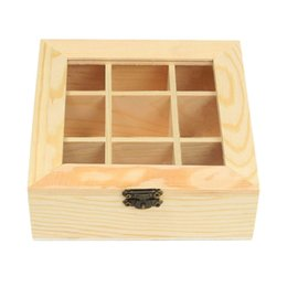organizadores de maquiagem chinesa Desconto Wooden Bag Jewelry Organizer Chest Storage Box 9 Compartments Box Organizer Wood Sugar Packet Container