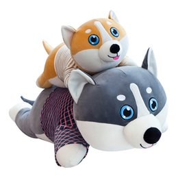 2019 perros de peluche grandes Nuevo tamaño grande 70-90 cm Cute Corgi Dog Doll Almohada Shiba Inu Felpa Juguete Holding Sleeping Doll Stuffed Animal Almohada de regalo para niñas perros de peluche grandes baratos