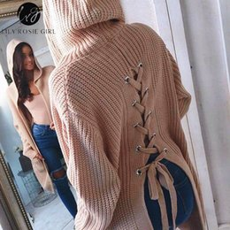 Meninas preto jumpers on-line-Lily Rosie Black Girl Sexy Lace Up malha Sweater Mulheres Long Sleeve Cardigans com capuz Duplo bolso Casual Outono Inverno Jumper