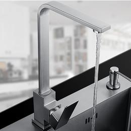 Faucet design quadrado on-line-Projeto quadrado de Aço Inoxidável Torneira Da Cozinha Mixer Sink Faucet Superfície Escovado Torneira de Água de 360 Graus de Rotação Livre grátis