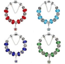 Antique 925 prata real coroa pingente pulseira contas de vidro murano fit original charme europeu pulseira mulheres moda jóias de