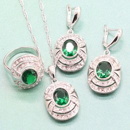 Jóia de prata esterlina semi preciosa on-line-EIOLZJ Verde Semi-precious Stone Sterling Silver 925 Conjuntos de Jóias Para As Mulheres Colar Anel Dangle Brincos Caixa De Jóias Livre