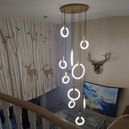 Iluminação contemporânea da escada on-line-Os anéis acrílicos da iluminação de madeira contemporânea do candelabro do diodo emissor de luz conduziram a iluminação da escada de Droplighs 3/5/6/7/10 fixam o dispositivo elétrico de iluminação interno