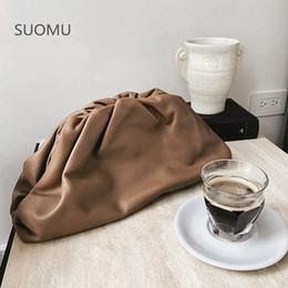 Sacs à main d'oreiller femme en Ligne-Jour embrayage femmes sac porte-monnaie partie de soirée grande grande pochette en cuir sac oreiller ruché sac à main 2019 été brun blanc