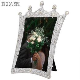 Materiale di alluminio incorniciato online-Tooarts Jewelry Photo Frame in lega di alluminio Handmade Materiale Pearl Foto Cornice decorativa Real Clear coperchio anteriore in vetro