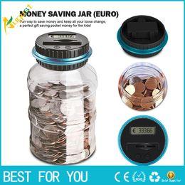 2019 materiales de puesta a tierra 1.8L Piggy Bank Counter Coin Electrónica Digital LCD Contando Moneda Ahorro de dinero Caja Caja de almacenamiento de monedas Jar para USD EURO GBP Dinero