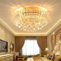 Lampada da soffitto in cristallo dorato chiaro online-LED di cristallo moderna del soffitto illumina la lampada dorato americano di fissaggio a soffitto Hotel Lobby Foyer Soggiorno Camera da letto illuminazione dell'interno della casa