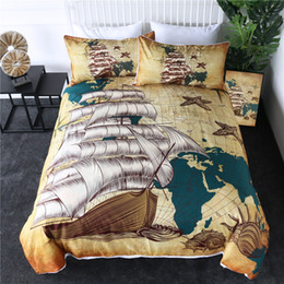 Colcha de cama marrom on-line-Barco à Vela, cama Set mapa náutico capa do edredon Mapa do mundo Retro Bedclothes Oceanos Shells Colchas Brown 3pcs
