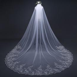 ruban camo rose Promotion 2019 luxe dentelle perlée voiles de mariée 3 mètres de long blanc cathédrale d'ivoire voiles de mariage avec peigne accessoires de mariée sur mesure AL2315